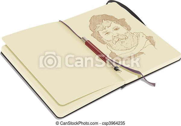 Open Sketchbook with Pen - csp3964235