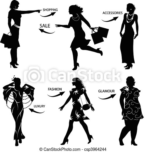 Fashion Shopping Woman Silhouettes - csp3964244