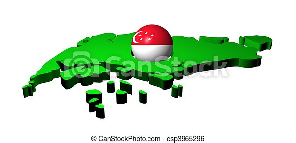 Singapore flag sphere with map - csp3965296