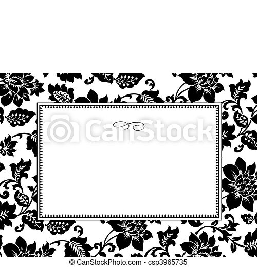 Vector White Floral Pattern and Frame - csp3965735