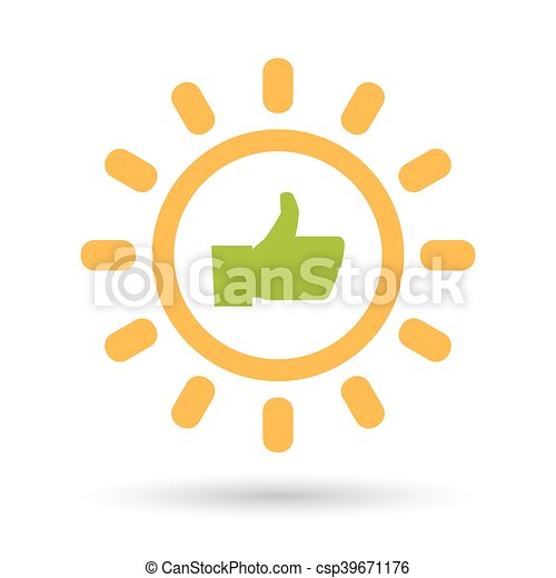 Isolated  line art sun icon with a thumb up hand - csp39671176