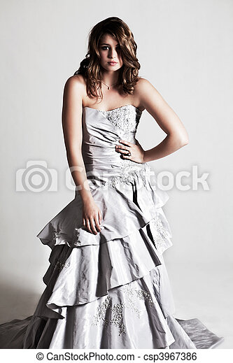Young Woman Wearing an Evening Gown - csp3967386