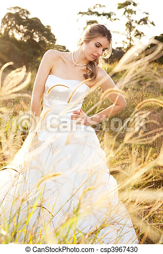Bride in a Rural Landscape - csp3967430