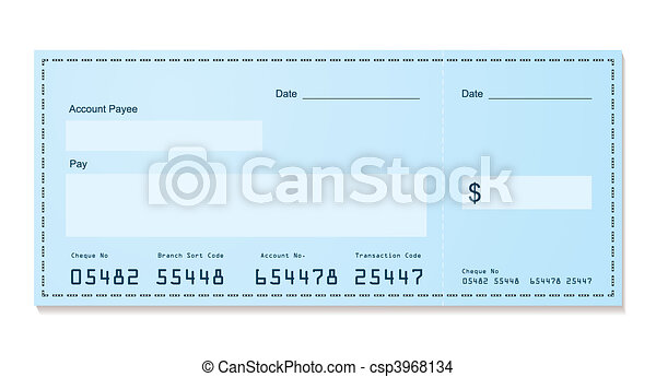bank cheque old style - csp3968134
