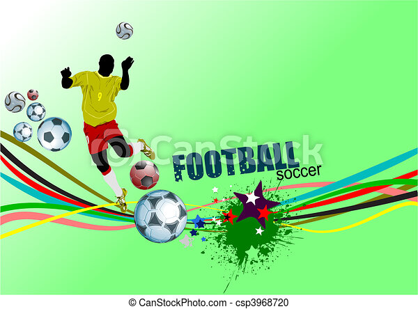 Poster Soccer football player. Col - csp3968720