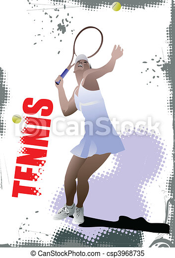 Tennis player poster. Colored Vect - csp3968735