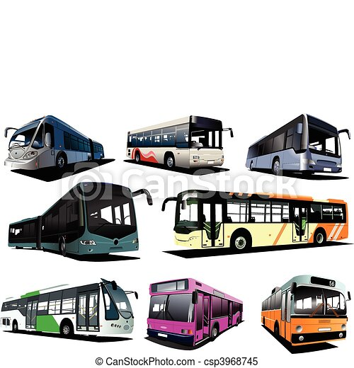 Eight city buses. Coach. Vector il - csp3968745