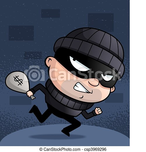 Vector Clip Art of Burglar Running - A cartoon kid burglar running ...