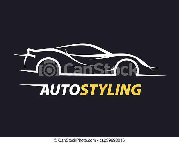 Vector Clip Art Of Concept Auto Styling Car Logo With Supercar
