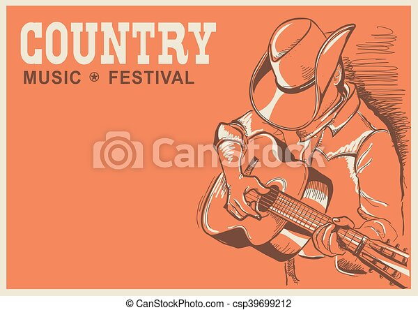 Vector Clip Art of American country music festival poster with ...