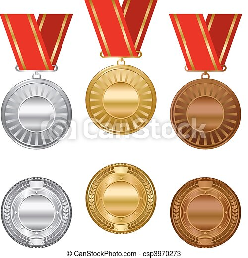 Gold silver and bronze award medals - csp3970273