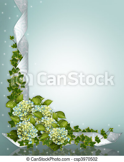 Wedding invitation Hydrangea csp3970502 Hydrangea flowers and ribbons