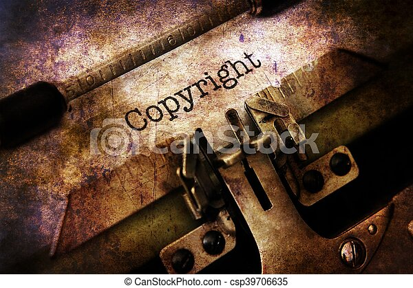 text, årgång, upphovsrätt, skrivmaskin - csp39706635