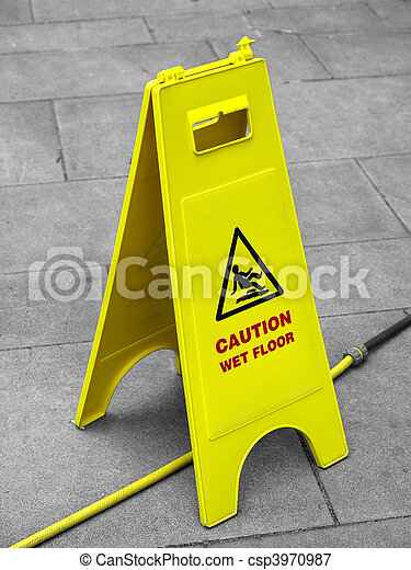 Picture of Wet Floor sign - Caution wet floor and slippery surface ...
