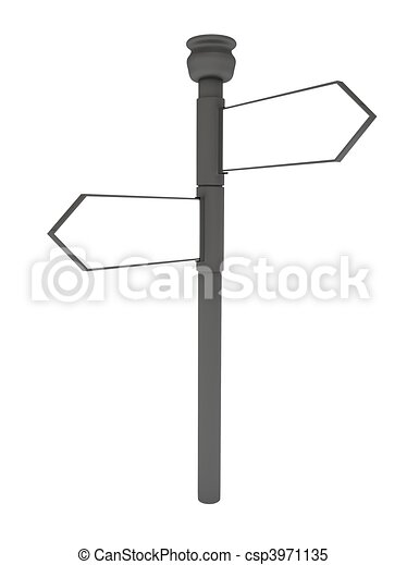 Blank signpost over white - csp3971135