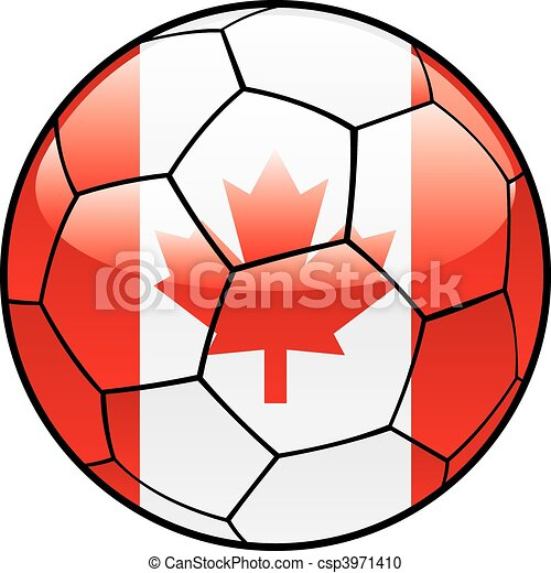 Canada flag on soccer ball - csp3971410