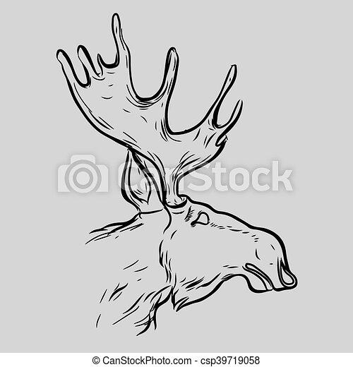 麋, 头, 符号, 动物 - csp39719058