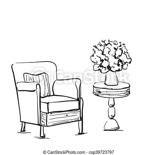 Tisch gezeichnet  Stuhl Gezeichnet | mobelplatz.com