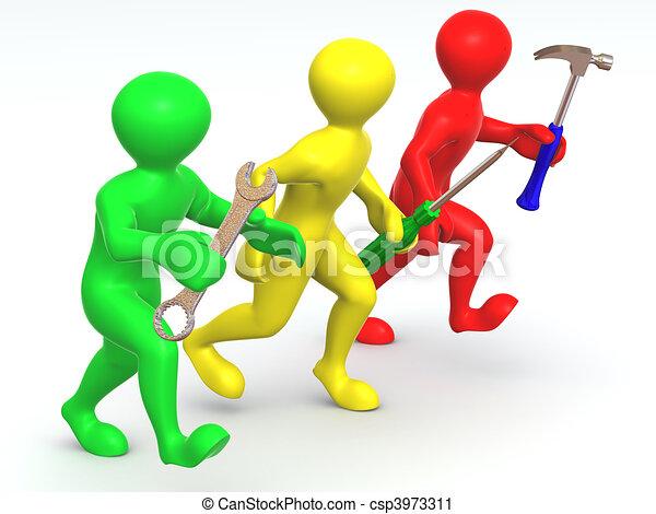 Three man with tools. Maintenance - csp3973311