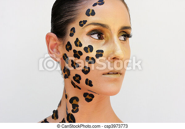 Photo , impression, femme, animal, maquillage