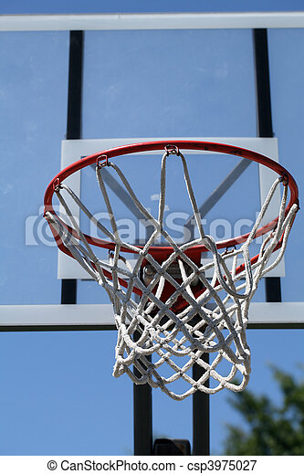 outdoor basketball hoop with net and backboard - csp3975027