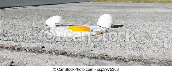 Egg frying on a hot sidewalk - csp3975308