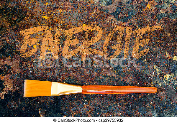 brush and german word, color symbolism for the color orange, it means energy