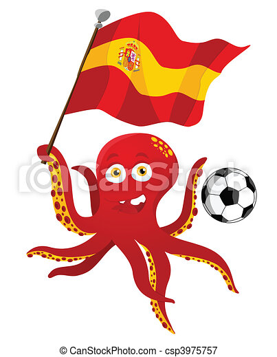 Octopus Soccer Player Holding Spain Flag. - csp3975757