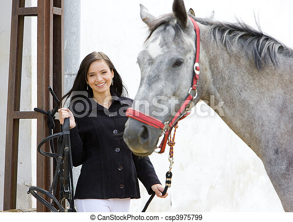 equestrian with horse - csp3975799