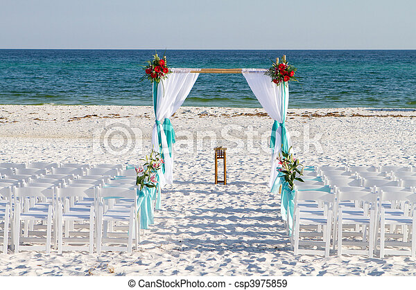 passaggio ad arco, spiaggia, matrimonio - csp3975859