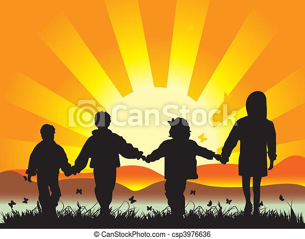 Happy children walk on meadow having joined hands - csp3976636
