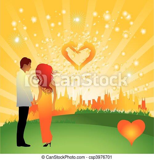 Couple walks on a flower meadow, cityscape - csp3976701