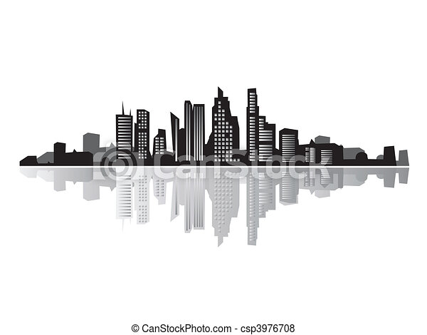 Vector of City landscape, silhouettes of houses black ...