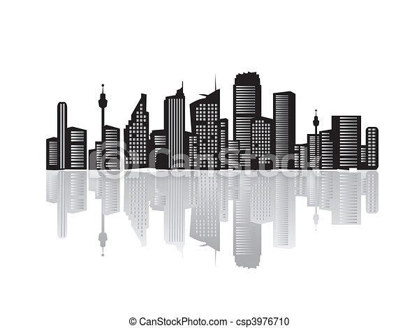 Vector Clipart of City landscape, silhouettes of houses black ...