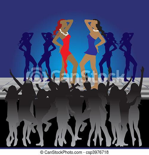 Girls dancing on dance floor in nightclub - csp3976718