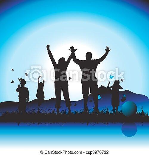 Happy family walks on nature, sunset - csp3976732
