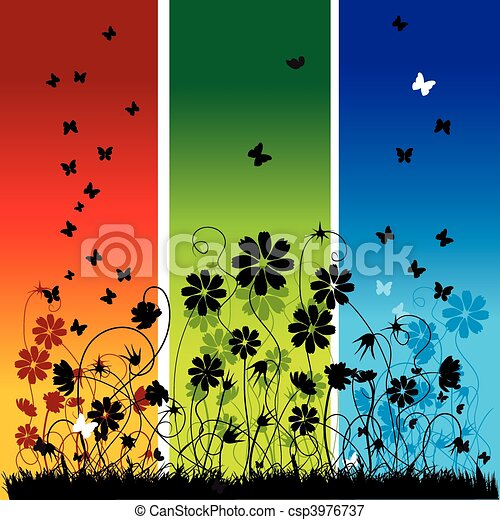 Abstract summer background, flowers and butterflies - csp3976737