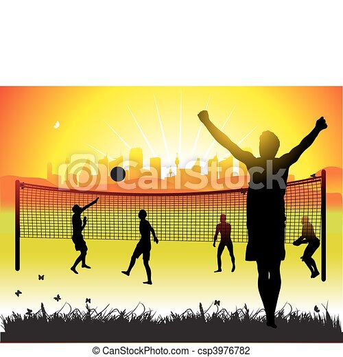 Peoples play on volleyball on nature, summer - csp3976782