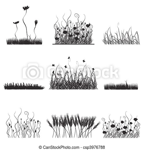 Silhouettes of grass, flowers and butterflies - csp3976788