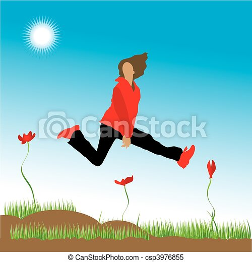 The woman runs on a flower meadow - csp3976855