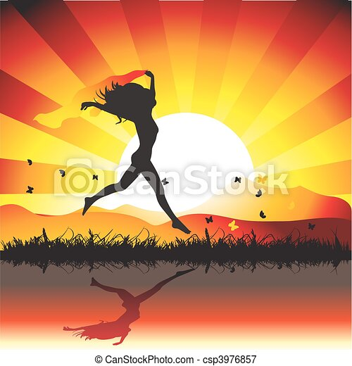 Girl runs on meadow with butterflies, sunset - csp3976857