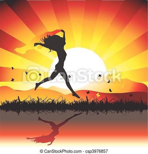 Girl runs on meadow with butterflies, sunset - csp3976857