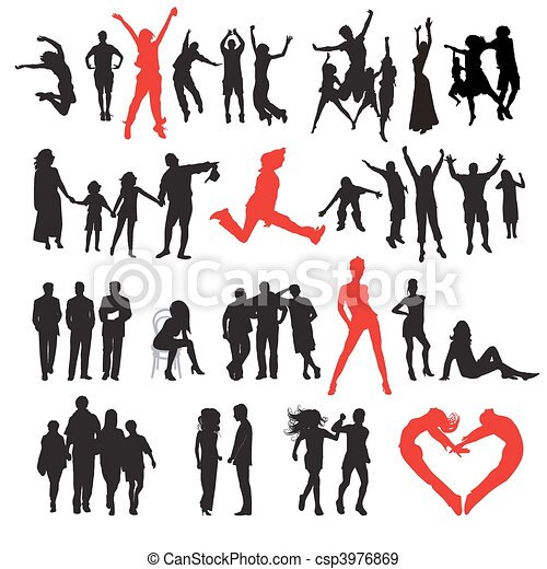 Silhouettes of people: business, family, sport, fashion, love - csp3976869