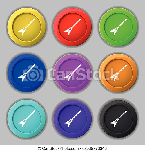 guitar icon sign. symbol on nine round colourful buttons. Vector - csp39773348
