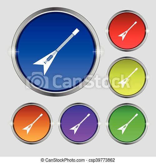 guitar icon sign. Round symbol on bright colourful buttons. Vector - csp39773862