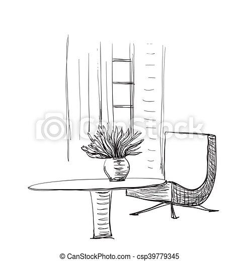 Stuhl gezeichnet  EPS Vektor von zimmer, hand, gezeichnet, inneneinrichtung, tisch ...