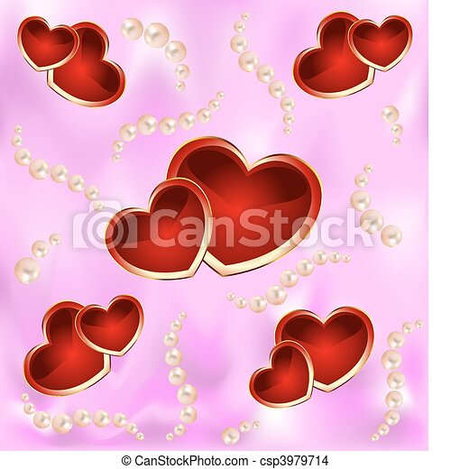 Background with hearts and pearls - csp3979714