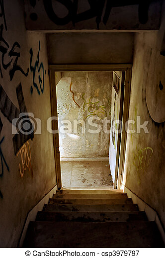 abandoned house staircase - csp3979797