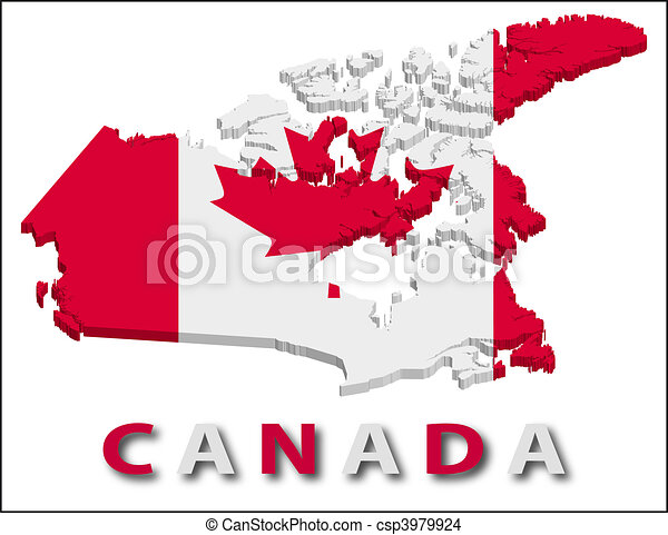 Canada territory with flag texture. - csp3979924