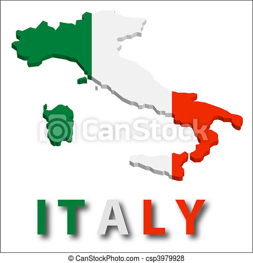 Italy territory with flag texture. - csp3979928